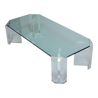 Lucite & Glass Coffee Table