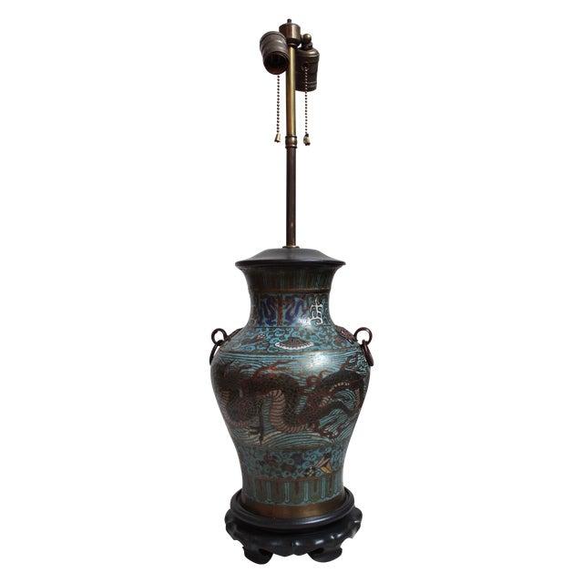 Vintage Japanese Champleve Urn Lamp - Image 1 of 5