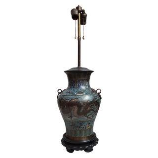 Vintage Japanese Champleve Urn Lamp