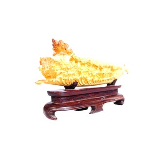 Chinese Antique Lettuce Sculpture on Stand