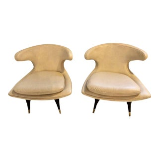 Mid-Century Modern Gio Ponti Style White Leather Barrel Back Chairs - A Pair