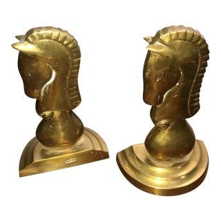 Brass Horse Bookends - A Pair