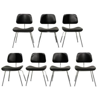 Set of 7 Authentic Eames Herman Miller Dcm Black Ebony Mid Century Dining Chairs