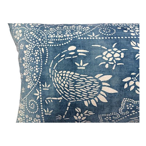 Antique Indigo Crane Batik Body Pillow - Image 2 of 6