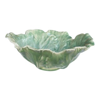 Boldly-Scaled American Rookwood Art Pottery Pale-Green Glazed Cabbage-Leaf Bowl