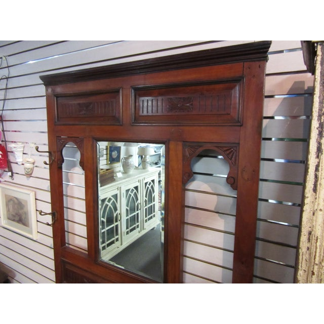 Antique Victorian 1800s Walnut Hall Mirror Stand - Image 4 of 11