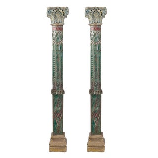 Antique Carved Wood Pillars - A Pair