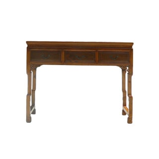 Chinese Light Brown 3 Drawers Altar Table Desk