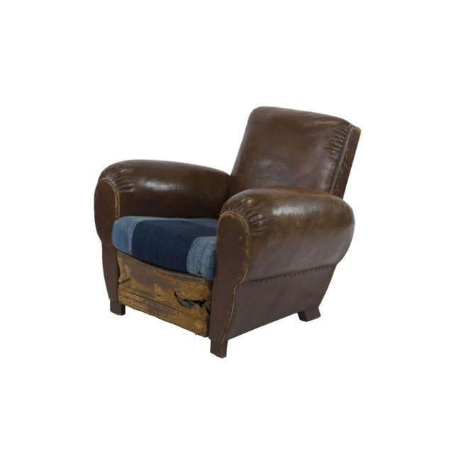 Image of Large 1920's French Leather Club Chairs - Pair