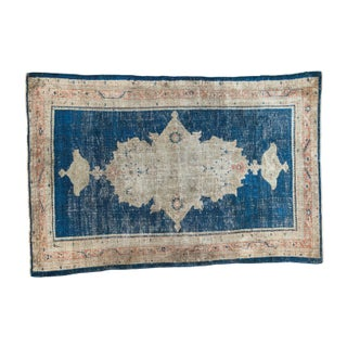 "Distressed Indigo Blue Mahal Rug - 3'11"" X 6'"