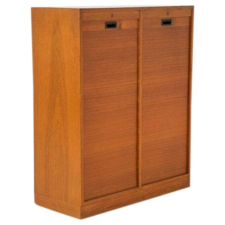Danish Modern File Storage With 2 Tambour Doors - Image 1 of 6