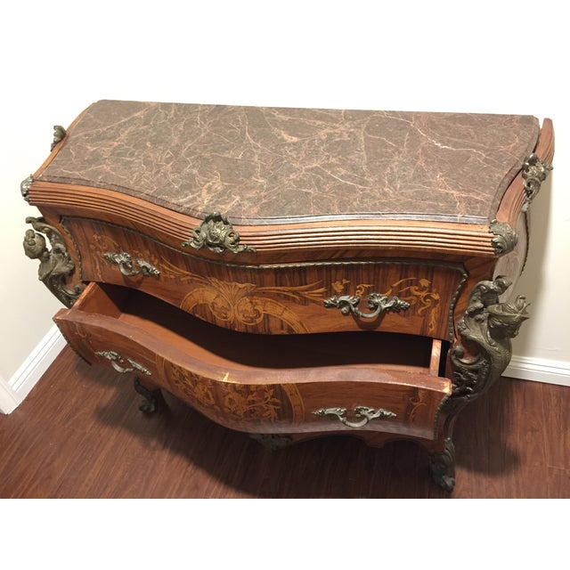Ant Marble Top Louis XV Marquetry Commode Bronze - Image 6 of 11