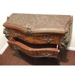 Image of Ant Marble Top Louis XV Marquetry Commode Bronze