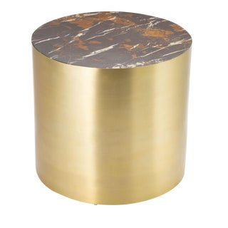 Brass & Marble Conan Drum Table, Small