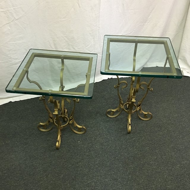 Image of Regency Gilt & Glass Side Tables - A Pair