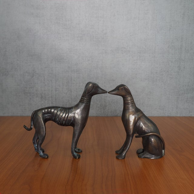 Image of Antique Art Deco Cast Bronze Greyhounds - A Pair