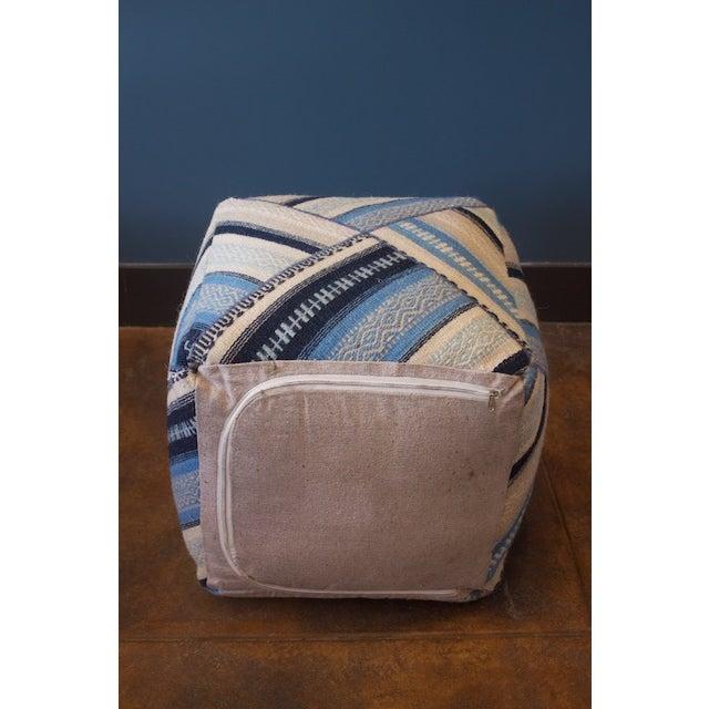 Geometric Blue Wool Cube Ottoman - Image 4 of 4