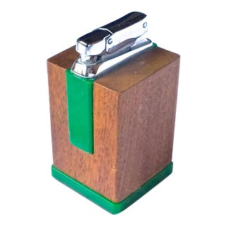 Mid-Century Modern Wood & Bakelite Cigarette Lighter