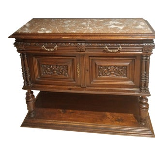 Antique Oak Marble Top Sideboard