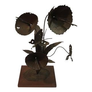 Brutalist Floral Metal Sculpture