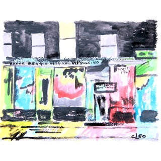Greenwich Village Street Night Cityscape Painting by Cleo
