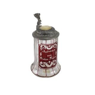 Biedermeier German Cranberry Art Glass Lidded Mother of Pearl Tankard