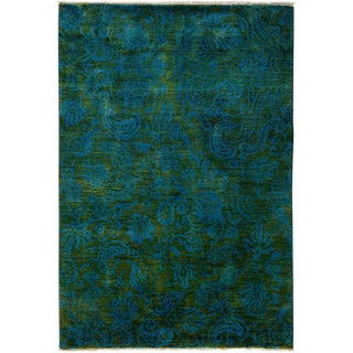 """Vibrance, Hand Knotted Area Contemporary Green & Blue Paisley Wool Rug - 4' 1"""" X 6'"""