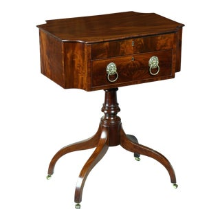 Mahogany Work Table with Convex Corners & Lift Top