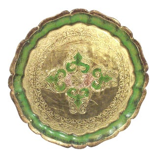 Florentine Green and Gold Leaf Decorative Tray