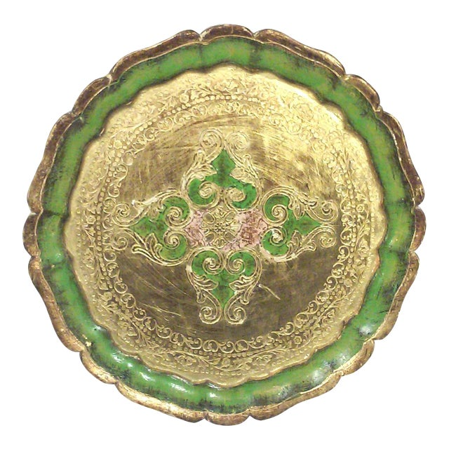Florentine Green and Gold Leaf Decorative Tray - Image 1 of 5