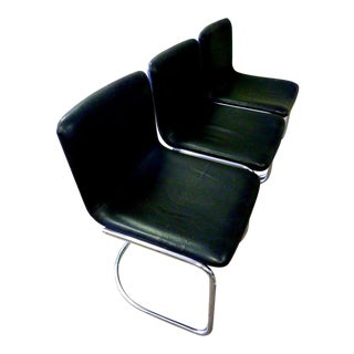 Giovanni Offredi for Saporiti Leather & Steel Lens Chairs- Set of 3