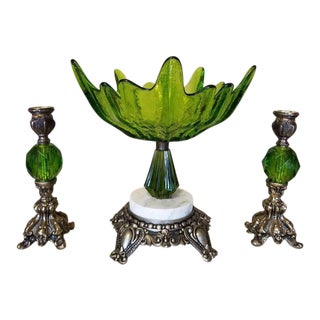 Antique Green Bowl & Candleholders - Set of 3
