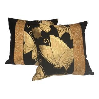 Japanese Butterfly Obi Pillows - A Pair