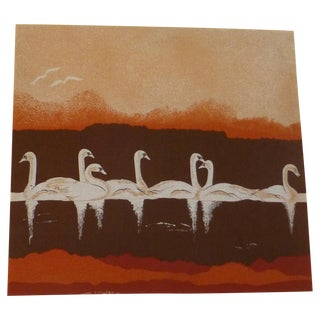 Vintage 1970s Fabric Art of Graceful Swans