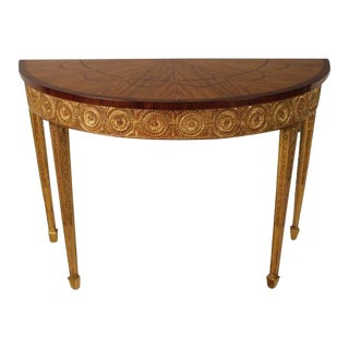 Satinwood Inlaid Gilded Console Table