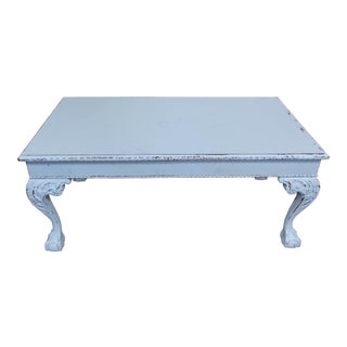 French Petite Blue Distressed Provincial Coffee Tea Table