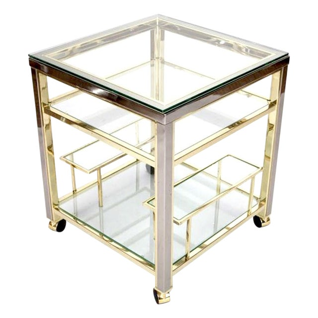 Mid-Century Modern Brass and Glass Trolley Table Gold Bar Cart - Image 1 of 4