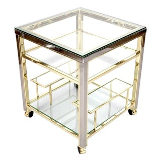 Mid Century Modern Brass and Glass Trolley Table Gold Bar Cart