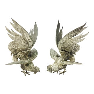 Vintage Italian Gamecock Fighting Roosters - A Pair
