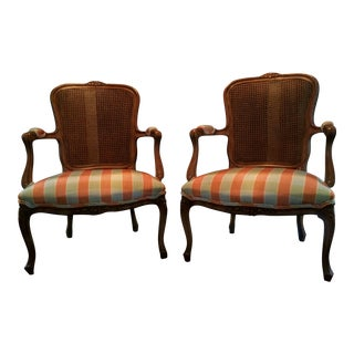 Pair of French Cane Back Arm Chairs