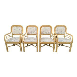 Twisted Rattan Curved Armchairs - Set of 4