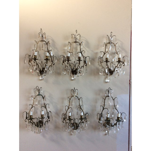 French Bronze & Crystal Wall Sconces - Set of 6 - Image 8 of 8