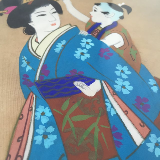 Japanese Hand Painted Silk - Image 4 of 11