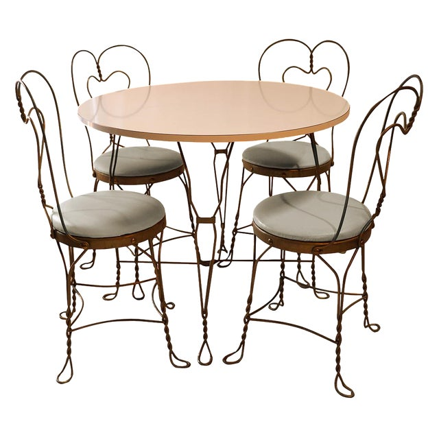 Vintage Wrought Iron Ice Cream Parlor Set - Image 1 of 10
