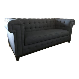 Custom Navy Blue Tufted Sofa