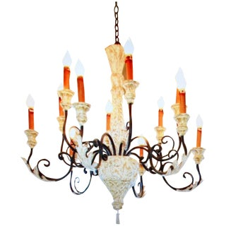 Sculptured Wood Iron 12 Light Chandelier