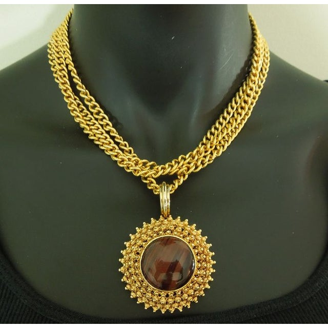 Image of 70s Graziano Runway Necklace Faux Tiger Eye Stone