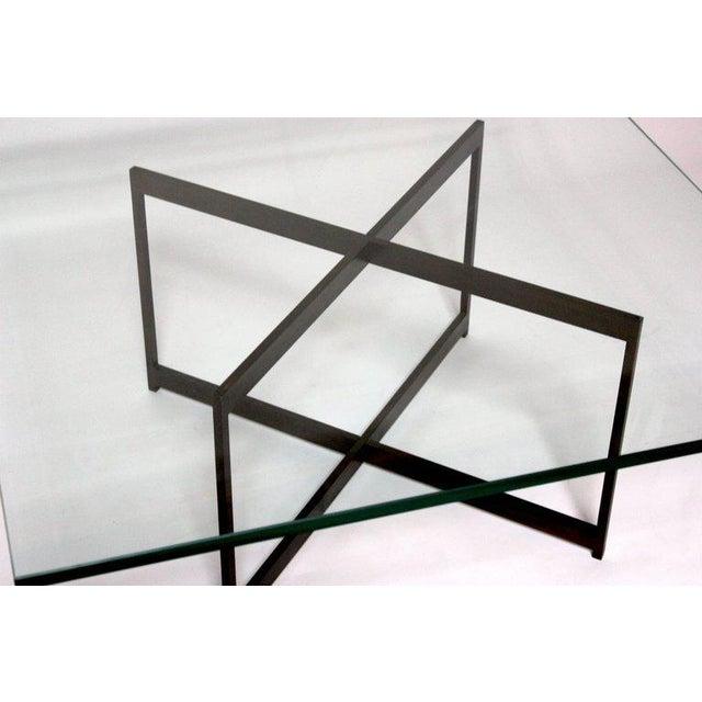 Mid Century Bronze Glass X Base Coffee Table Chairish