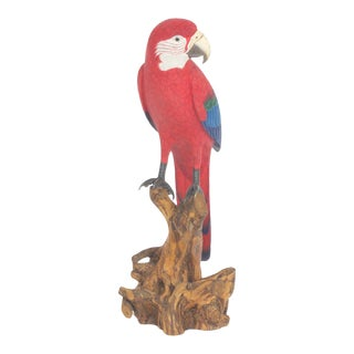 Exceptional Carved and Painted Red Parrot