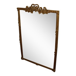 Carvers' Guild Antiqued Gold Leaf Bow Top Beveled-Mirror